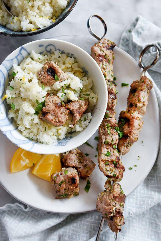 Pork Souvlaki With Lemon Rice Pork Souvlaki With Lemon Rice