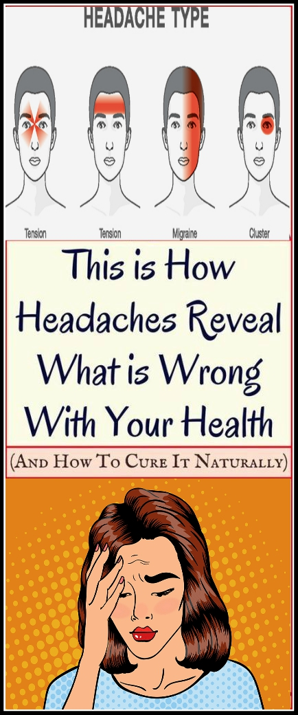 4 MOST USUAL TYPES OF HEADACHES WHAT THEY INDICATE ABOUT YOUR HEALTH AND THE BEST NATURAL TREATMENT 4 MOST USUAL TYPES OF HEADACHES (WHAT THEY INDICATE ABOUT YOUR HEALTH AND THE BEST NATURAL TREATMENT!)
